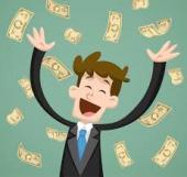 Personnage billets bonheur gagner de l'argent